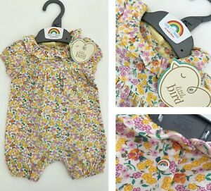 MOTHERCARE Baby Girls Romper Short Collared Little Bird Jools Oliver Floral NEW