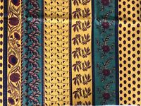 French Fabric Yellow Green Red Remnant Flowers Olives Quilting Sewing Crafts