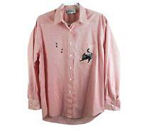 Los Olas Women's Size L Red Striped Cat  Button Down Shirt Top Vintage