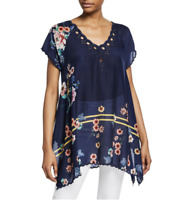 💕JOHNNY WAS Embroidered MUZUKA Eyelet V NECK Scalloped Hem Tunic Blouse XS $215