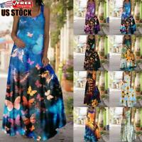 Women's Summer V Neck Long Dress Ladies Beach Printed Casual Loose Maxi Dresses