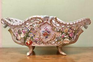 Stunning! Antique Victorian Meissen 19thC Flower Encrusted Porcelain Large Bowl