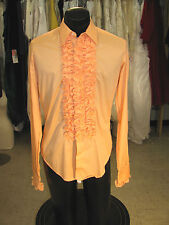 Vintage Big Ruffled Tuxedo Shirt Shrimp (Orange) 14 X 36 S6
