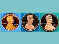 2010 S 2011 S and 2012 S PROOF LINCOLN Cents Penny - Ultra cameo-THREE COINS