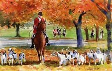 Giclee PRINT Foxhunt foxhounds Thoroughbred Painting Hunt Horse Art Warmblood