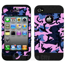 For Apple iPhone 4 4S Impact Black Silicone Cover Pink Gray Camo Hybrid Case
