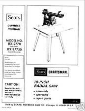 Sears Craftsman Radial Arm Saw Manual Model # 113.19770