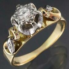 Vintage 1970's Wendts Solid 18k Yellow GOLD & PLATINUM 3 DIAMOND RING Sz K1/2