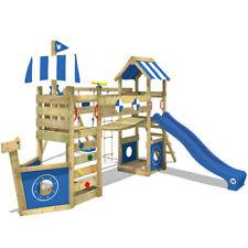 Wickey Stormflyer Climbing Frame Wood Swing Set Blue Slide & Roof Outdoor Garden