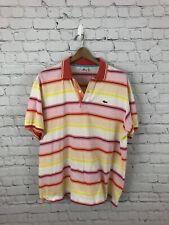 Lacoste Mens Polo Shirt Size 7 XL Multicolor Colorful Sewn Logo EUC