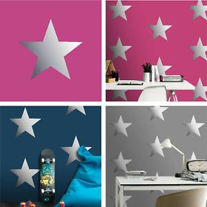Rasch Kids Stars Boys Girls Metallic Foil Effect Wallpaper - Navy Pink Grey
