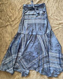 Free People Tied Pattered Satin Skirt Light Pale Blue XS UK 6 BNWOT New