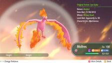 Pokemon Let's Go Shiny Moltres 6IV-AV Trained