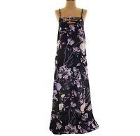 Mimi Chica Nordstrom Jrs Maxi Dress Sz S Strappy Floral Navy Blue EUC  B21