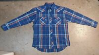 Wrangler Mens Large Western Pearl Snap Plaid Long Sleeve Button Up Shirt Blue