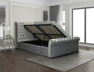 Clearance 99p No Reserve Brand New Bed Frame - 4'6 Kingston Side-Lift Suede Grey