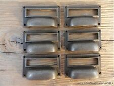 6 ANTIQUE STYLE INDUSTRIAL CABINET DRAWER HANDLE CAST IRON NAME CARD PULL CH1