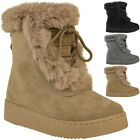 Womens Ladies Flat Faux Fur Lining Winter Bow Ankle Boots Low Heel Shoes Size