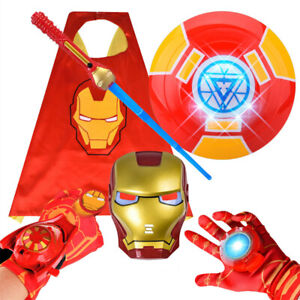 Avengers Iron Man LED Light Up Shield Sword Mask Cosplay Party Prop Kids Toys