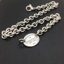 Return To Tiffany & Co New York Silver Oval Tag Necklace
