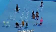 Dollhouse Miniature 32 pc Bar assortment set Glassware & Bottles 1:12 scale