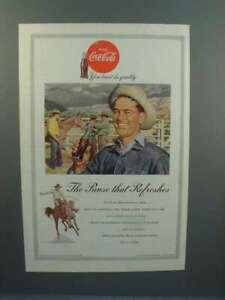 1953 Coke Coca-Cola Soda Ad w/ Rodeo Cowboy - Pause