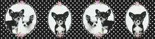 AS Little Stars 35850-1 Vlies Bordüre Kinder Hunde Chihuahua Punkte schwarz weiß