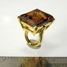 Kenneth Jay Lane Large Crystal Topaz Gold Plated Adjustable Ring 5 - 9