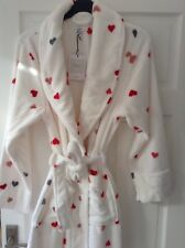 John Lewis Supersoft Cream Hearts Fleece Robe Dressing Gown. Size Medium. be3ddaf85
