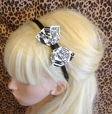 "BLACK WHITE NEWSPAPER PRINT FABRIC SMALL 3"" SIDE BOW SATIN ALICE HAIR HEAD BAND"
