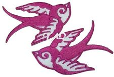 Pair Of Pink Swallows Rockabilly  Iron / sew on silk Embroidered Patch UK