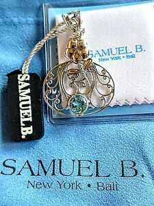 SAMUEL B Blue Topaz & S/S and 18K Solid Gold Dragonfly Pendant Enhancer