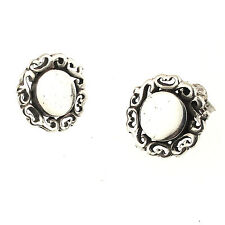 Filigree Disk Stud Earrings Vintage Sterling Silver Small Round Scrolled Border