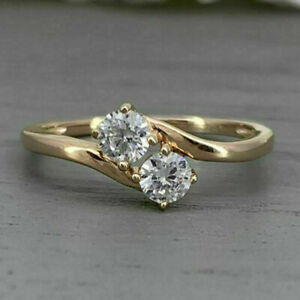 2.00 CT Round Diamond Two Stone Wedding Engagement Ring 10k Yellow Gold Finish