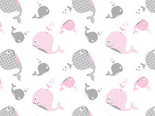 Pink and Gray Whale Tissue Paper ~ Baby Shower # 245 ~ 10 Large Sheets