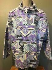 Vtg 80s 90s Tribal Aztec Pullover Print Sweatshirt Mens L Blue Purple Black L-S