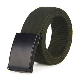 Unisex Canvas Pants Belt Military Web Belt Smooth Buckle Waistband Casual Gift