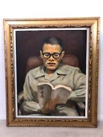 🔥 Antique Asian Chinese Taiwan Mid Century Impressionist Oil Painting Portrait
