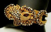 Rare Vintage Signed Miriam Haskell Goldtone Rhinestone Hinged Bracelet A64