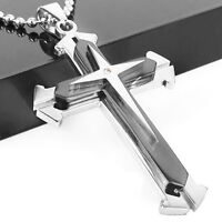 Men Women Black Stainless Steel Cross Pendant Necklace Chain Fashion Jewelry