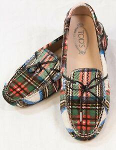 TOD'S Women's Gommino Driving Shoes, Plaid Cowhide, Size EU 40/US 9 (LUB)