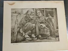 Willy Seiler: original etching of two Japanese women, mid 1950