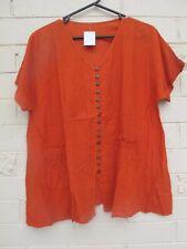 Burnt orange light cotton loose gypsy blouse pretty pockets sz 20 22