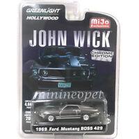 GREENLIGHT 51228 JOHN WICK 1969 FORD MUSTANG BOSS 429 1/64 CHROME w BLACK STRIPE