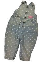 OshKosh Vestbak Vntg Girls Blue Jean Dots Overalls Bibs Sz 3T Union Made In USA