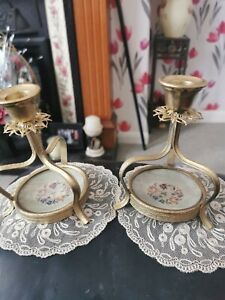 Pair Petit Point Ormolu Candlesticks