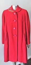 Boucle Trapeze Vintage 50s Mod Gogo Red Jacket Wool Midi Dress Coat Size XL