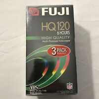 FUJI 3 Pack Of Blank VHS Video Tapes HQ 120 NEW Factory Sealed FUJIFILM T-120
