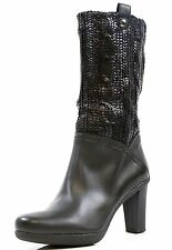 New! Stuart Weitzman Black 9465 Lacquered Knit Leather Boots #KW14489 Size 10 B