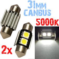 2 Ampoule Navette 31mm 5000k LED 5050 ODB Blanc Plafonnier coffre PLAQUE 2A8 2A8